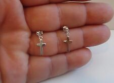 925 STERLING SILVER DROP/DANGLE POST STUD CROSS EARRINGS / SZ 20MM BY 8MM