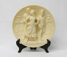 1970's Alabaster Collectors Plate Bizet Carmen Opera Scene with Display Stand