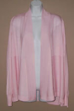 Womens Liz Claiborne Size XL Long Sleeve Solid Pink Thin Knit Cardigan Sweater