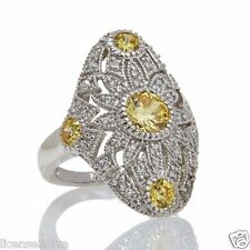 STERLING SILVER & FANCY CANARY ABSOLUTE FILIGREE BAND RING! SIZE 7! NEW!