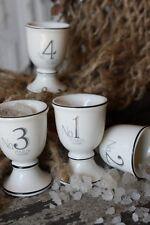 Set/4 Numerical Pedestal Egg Cups Number 1 2 3 4 Vintage Cottage Chic Easter New