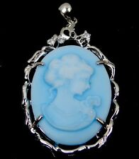 Victorian Style Lady Queen Cameo Pendant Silver Plated Resin - Blue