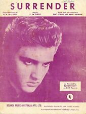 ELVIS PRESLEY - SURRENDER - VINTAGE SHEET MUSIC AUSTRALIA