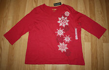 NWT Womens GREENSOURCE Red Snowflake Print 3/4 Sleeve Shirt Size 2XL XXL