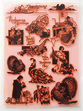 "Clear Stamps Sheet 7""x10"" ~ Thanksgiving Day ~ Turkey ~ FLONZ Vintage 403-108"