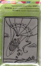 New Stampendous RUBBER STAMP cling Santa Hot air Balloon Christmas Free us ship