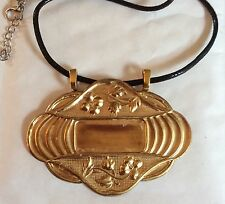 Shield art nouveau vintage large brass pendant necklace chain 43cm plus leather