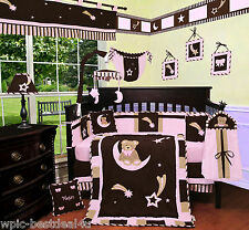 Baby Boutique - Pink Bear & Moon - 15 pcs Nursery Crib Bedding Set