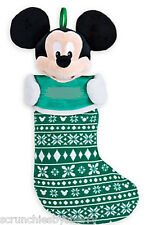 Disney Store Mickey Mouse Christmas Stocking Plush Head Green Decorated 2015 New