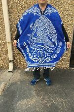 Mexican Poncho, Mexican Flag Eagle,Blanket Serape Gaban,One Size Fit All,Blue