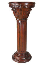 Hand-carved hardwood Corinthian Column Pedestal and solid Marble Inlaid 36.5""