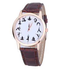 Fashion Men Women Faux Leather Band Yoga Print Analog Quartz Casual Wrist Watch