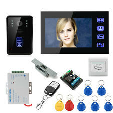 "7"" Video Door Phone DoorBell Intercom System with 1 Monitors and Electronic Lock"