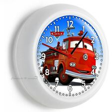 CARS RED FIRE TRUCK WALL CLOCK BOYS BEDROOM BABY BOY NURSERY ROOM ART HOME DECOR