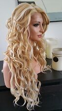 Beautiful Blonde Lace Front Wig w/Long Bangs Long Curly Heat Safe