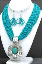 TOURQUOISE SEED BEAD NECKLACE STAMPED SILVER THUNDERBIRD W STONE PENDANT SET
