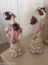 Vintage Capodimonte Porcelain Figurines Boy and Girl Carrying Jugs *rare*