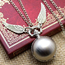 Harry Potter Pocket Watch Pendant Necklace Steampunk Quidditch Wings Clock