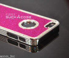 Diamond Rhinestone Bling Hard Rubber Case Metal Finished Fits iPhone 4 4S (Pink)