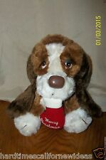 Vintage Russ Baxter Plush Basset Hound Dog with Merry Christmas Stocking 7""
