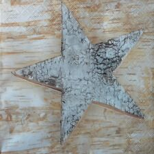 4 x single  PAPER NAPKINS  CHRISTMAS WOOD STAR  DECOUPAGE CRAFTING -101