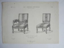 Fauteuil et Chaise Louis XIII GRAVURE le GARDE-MEUBLE DESTOUCHES XIXéme