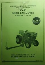 Sears Sickle Bar Mower Attach Garden Tractor Owner & Part Manuals (3 BOOKS Roper
