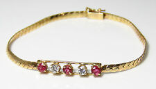 NYJEWEL 14k Solid Gold Brand New Gorgeous Designer Ruby 0.4ct Diamond Bracelet