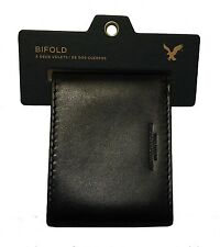 NWT AMERICAN EAGLE OUTFITTERS MENS LEATHER BIFOLD WALLET NEW  BLACK/BROWN AEO