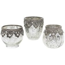 3 Vintage Lace Mercury Glass MOROCCAN Tealight Candle Holder HOME GARDEN Wedding