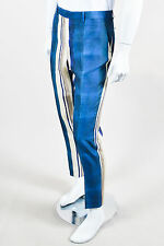 MENS Lanvin Blue Cream Beige Silk Striped Straight Leg Trousers SZ 52 R