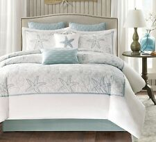 HARBOR BAY 4pc Queen COMFORTER SET : OCEAN BEACH HOUSE SEASHELL SEA GREEN MAYA