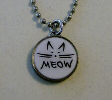 MEOW CAT Dime Pendant / Charm on 24 inch Chain Necklace Kitty kitten