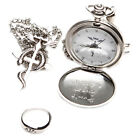Retro Fullmetal Alchemist Pocket Watch Necklace Ring Edward Elric Anime Cosplay