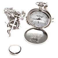 Retro Fullmetal Alchemist Pocket Watch Necklace Ring Edward Elric Anime Cosplay