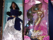 Lot 2 Barbie African American Jewel Hair Mermaid + Avon Winter Velvet New 1995