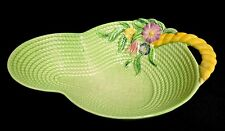 Carlton Ware Large Green 'Flowers and Basket' Dish c1938 - 77.228.001