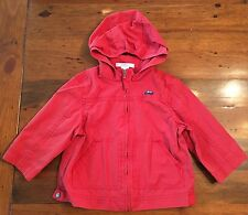 Janie and Jack 6-12m Little Rome Red Hooded Lightweight Jacket Embroidered Car