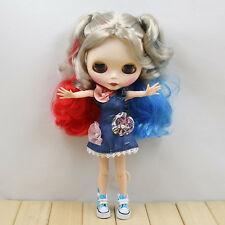 "12"" Neo Blythe Doll from factory Colorful mixed  hair + jointed articulated body"