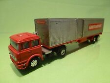 SHINSEI MINI POWER FIAT TRUCK + EUROTRAILER - EUROTRANSPORT - RED 1:64 - GOOD