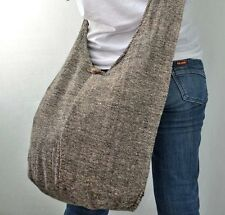 SANDSTONE - Large Hand Woven Hippie Cotton Sling Cross body Shoulder Bag