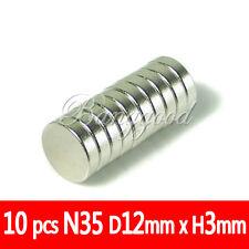 10x IMANES DE NEODIMIO N35 12mm DE DIÁMETRO Y 3mm