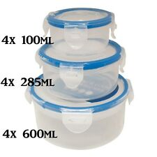 12x CLIP & LOCK PLASTIC FOOD CONTAINER STORAGE TUB - 3 ROUND SIZES