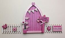 Magical Hand Painted Shimmer Pink Blossom Fairy Door With Fencing
