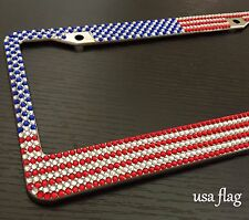 USA AMERICAN FLAG Diamond Bling Rhinestone Metal License Plate Frame for any Car