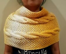hand-knitted cowl infinity scarf with lion brand Scarfie yarns(cream/mustard)