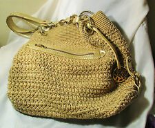 THE SAK PURSE crochet macrame tan gold accents silk lining pouches pockets used