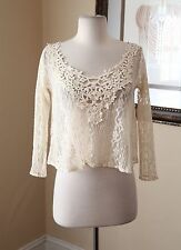NWOT New Hollister Cream Off White Sheer Lace Cropped Blouse Shirt Size XS Boho