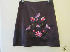 Dark Purple Floral Embroidered H&M Short Skirt in Size 8