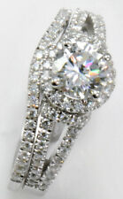 1 ct Center Micro Set /Band Top Russian Quality CZ Moissanite Simulant SS Sz 8